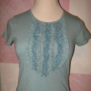 Light Aqua Blue Ruffle Chest Stretch Shirt M